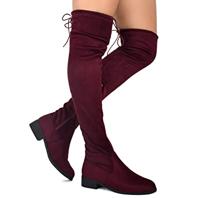 e5df5f65b43 Premier Standard - Women s Fashion Comfy Vegan Suede Block Heel Side Zipper  Back Lace Thigh High