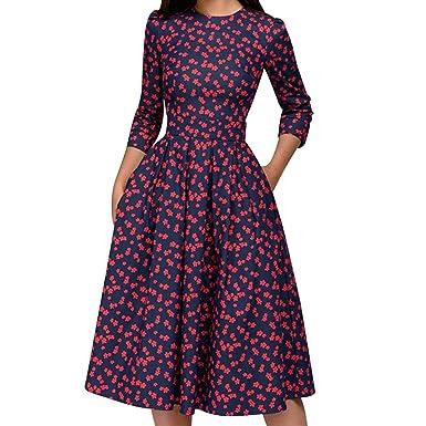 b30e851f61 PASATO New Women s Floral Vintage Dress Elegant Midi 3 4 Sleeves Evening  Long Maxi Dress at Amazon Women s Clothing store