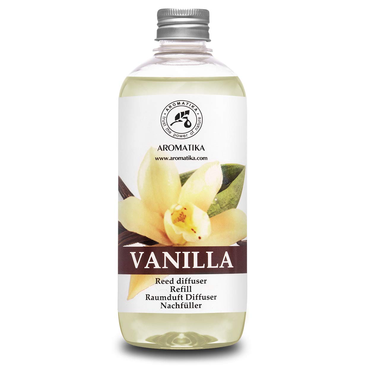 Vanilla Diffuser Refill w/Natural Essential Vanilla Oil 17 oz - Intensive - Fresh & Long Lasting Fragrance - Reed Diffuser Oil - Best for Aromatherapy - SPA - Home - Office - Fitness Club