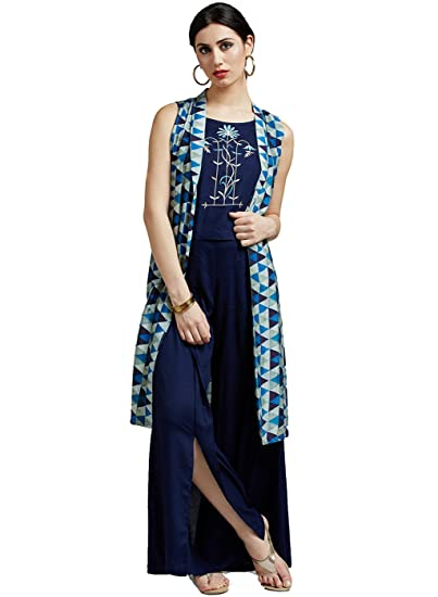 ddd667a1f2b21 Jaipur Kurti Women s Muslin   Rayon Crop top with Jacket   Palazzo (Navy  Blue)  Amazon.in  Clothing   Accessories