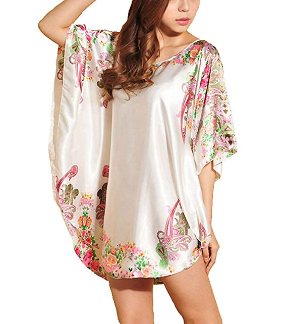 Kimono Bata Pijamas Satén Pijama Damas Casual Camisón Noche Cálido Mantón 1 Basic 2 Mangas Satén