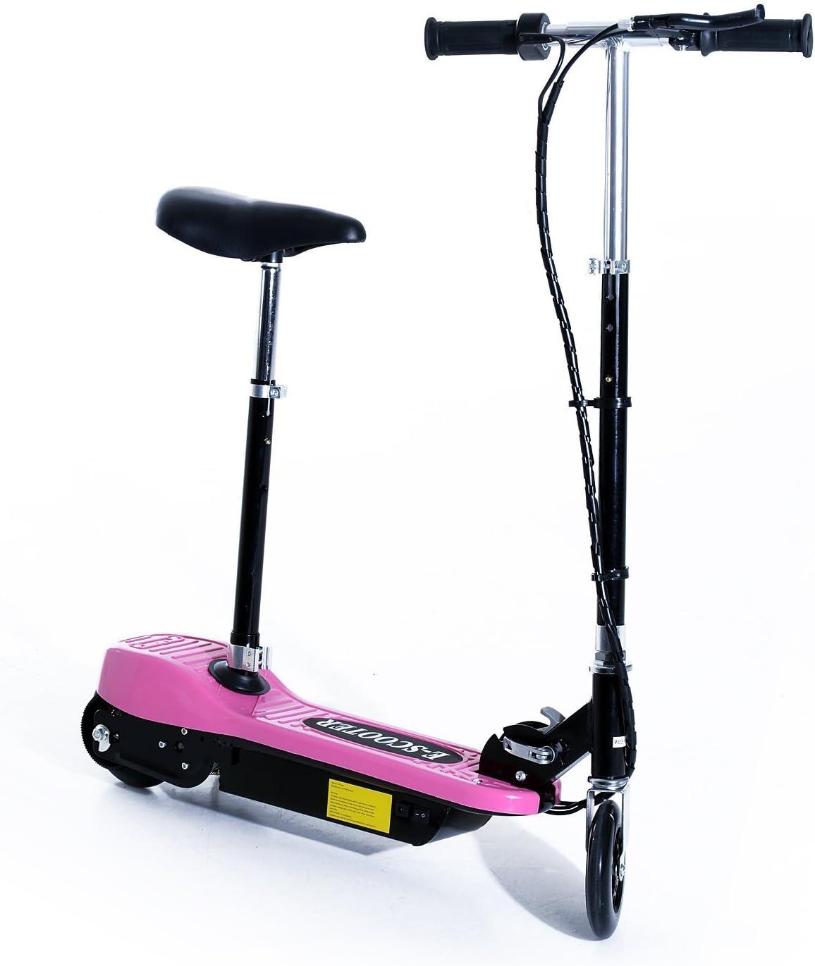 HOMCOM Patinete Eléctrico Plegable E-Scooter Batería 120W Manillar Asiento Ajustable Freno Pie de Apoyo 4 Colores para Adolescentes