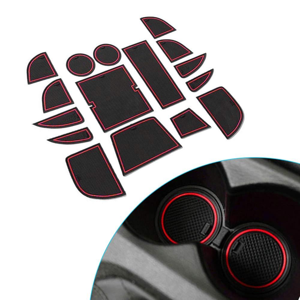 Porte Slot Pad Int/érieur D/écoration Automobile avec Logo Tuqiang Pour M azda CX-5 CX5 2013 2014 Tapis de Tasse de Garniture de Porte 16 Pi/èces Tapis en Caoutchouc Anti-d/érapant