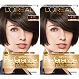 L'Oréal Paris Superior Preference Fade-Defying + Shine Permanent Hair Color, 4 Dark Brown, 2 COUNT Hair Dye