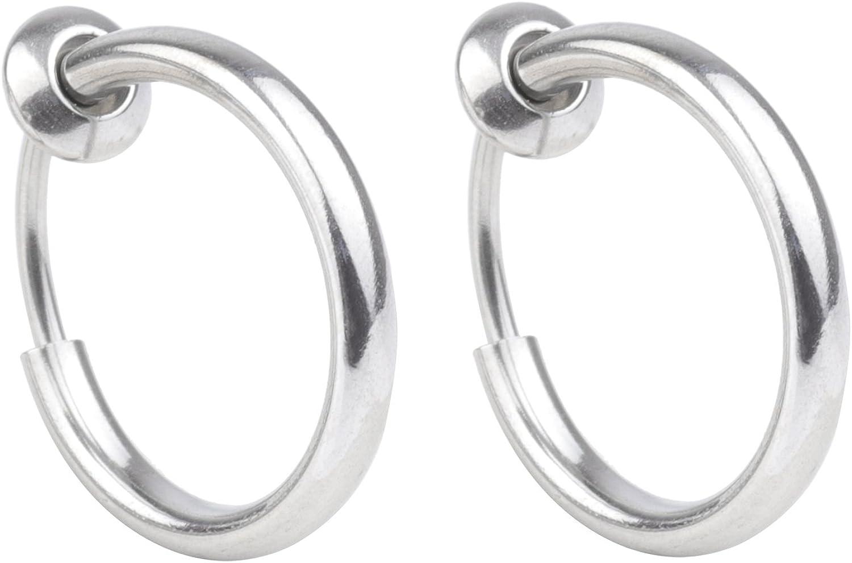 Yans Surgical Steel Fake Earrings Nose Ear Lip Clip Rings Non-pierced Earring Hoops Body Jewelry for Men and Women 8mm
