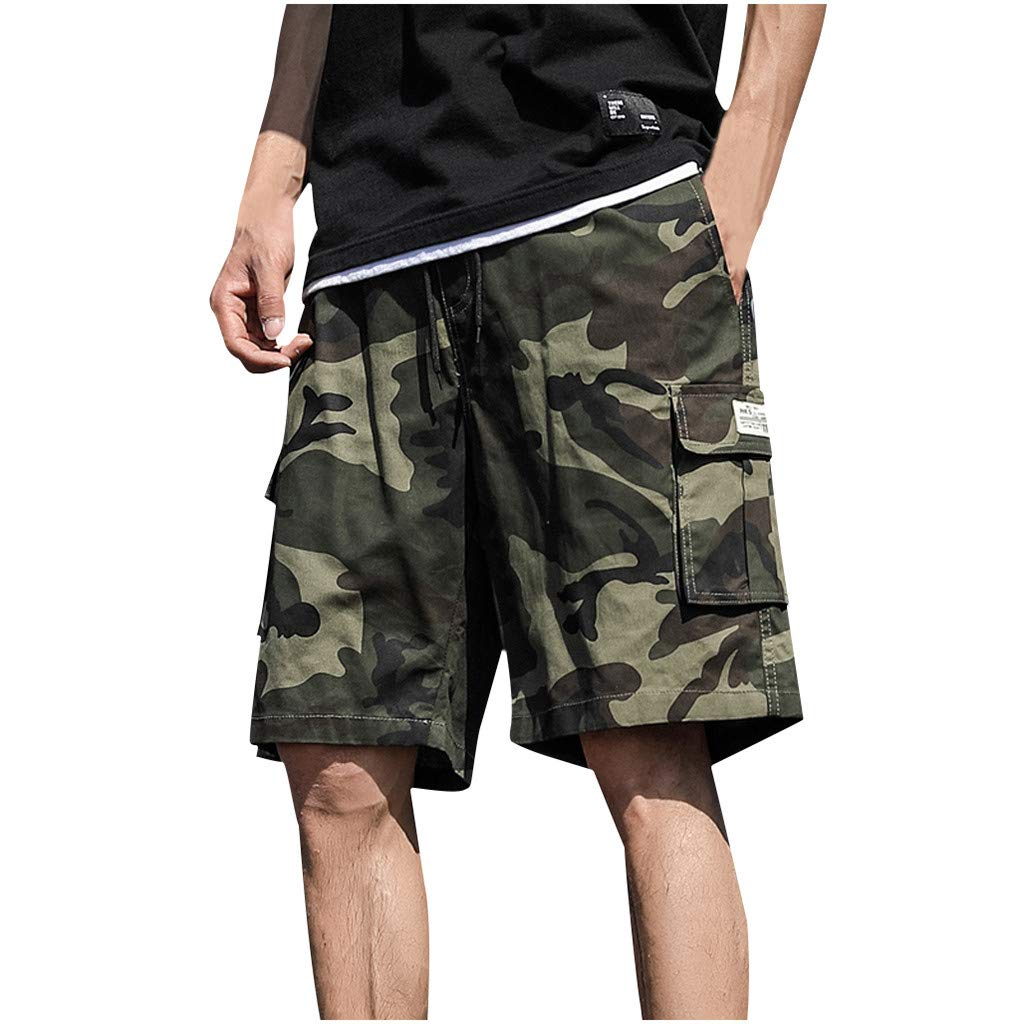Clearance! Men 's Cargo Shorts,Male Summer Casual Camouflage Short Trouser Plus Size Drawstring Pockets Beach Pant by Cobcob