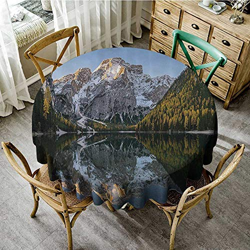 (familytaste Round tablecloths Apartment Decor Collection,Projecting Mountain Image in The Lake with Ice Tops South Italian Fantasy Place Photo,Grey Green D 36