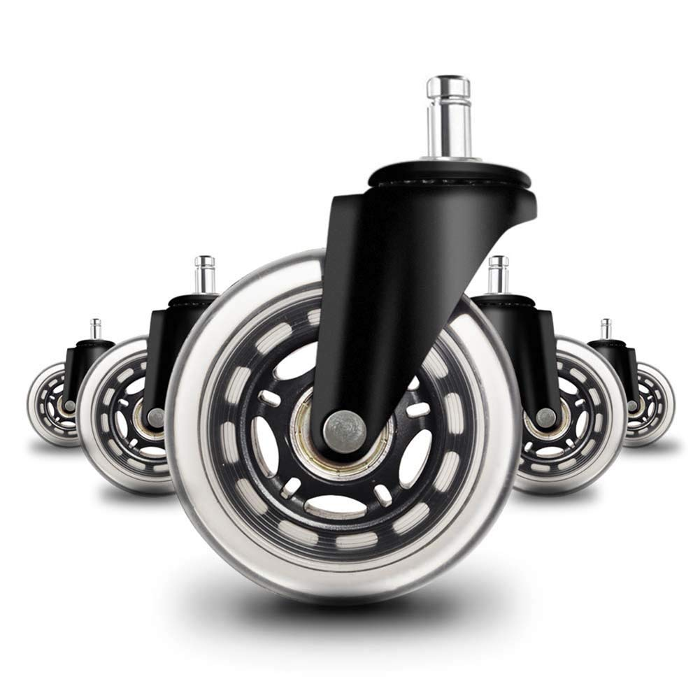 Casters LXY- 3''(75mm) PU Swivel Wheel Heavy-Duty for Office Chair Replacement with Stem(Black,Pack of 5) Quiet Rolling and Safe for Hardwood Floors, Laminate, Carpet, and Tile