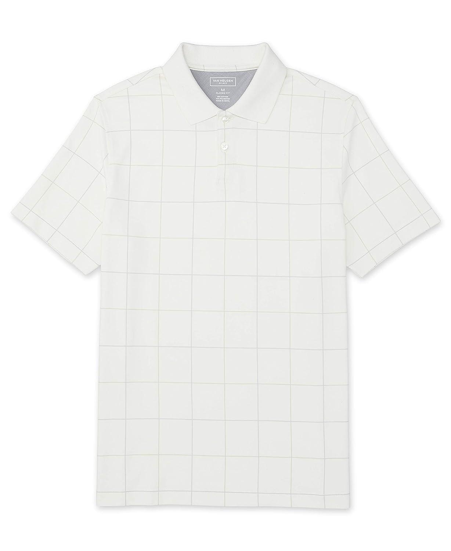 Van Heusen Mens Flex Short Sleeve Stretch Windowpane Polo Shirt