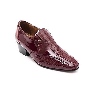 Mens Formal Cuban Heels Croc Leather Slip On Wedding Shoes Black Patent