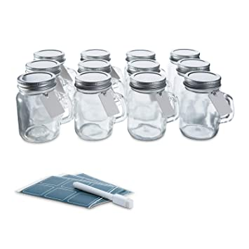 Glass Favor Jars with Lids and Handles 3 4oz - Mini Mason Jar Favors  Bottles with Chalkboard Labels,