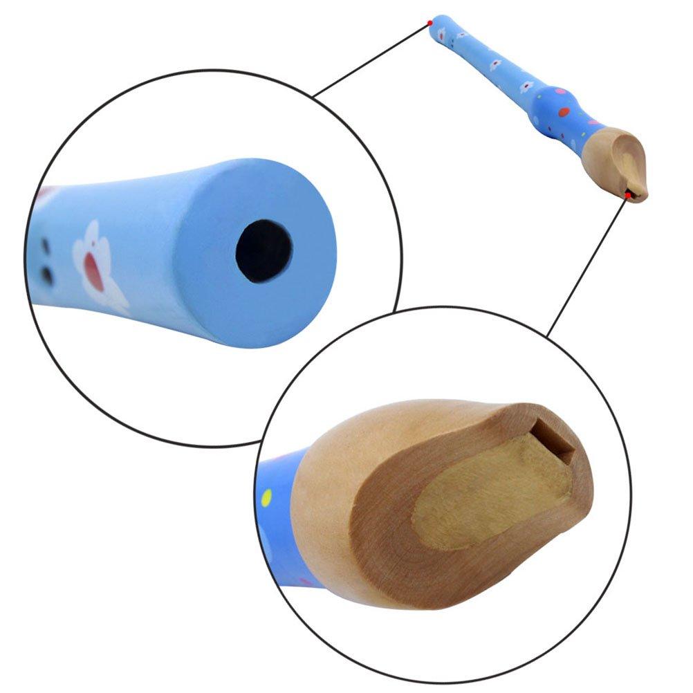 Ultnice Fl/ûte /à bec en bois 8/trous Soprano Recorder Fl/ûte lecture de musique Instruments /à vent pour enfants Bleu