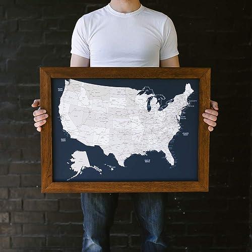 Amazon Com Small Navy Us Map Push Pin Travel Map Framed United
