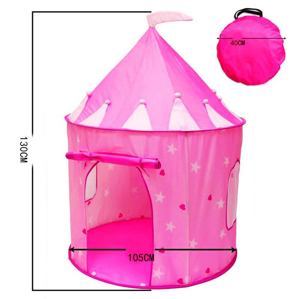 Rapidly boy Princess Castle Girls Play Tent Glow in the Dark Stars - Childrens Play Tents for Indoor & Outdoor Use,Easy to Folding back with Storage Carry Bag Pink