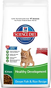 Hill'S Science Diet Kitten Healthy Development Ocean Fish And Rice Recipe Dry Cat Food, 3.5-Pound Bag