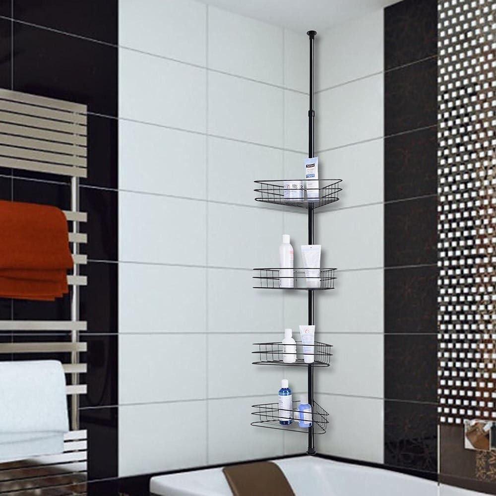 Kchex 4 Layers Metal Shower Corner Pole Shelf Bathroom Wall Storage Rack Holder Everything Else