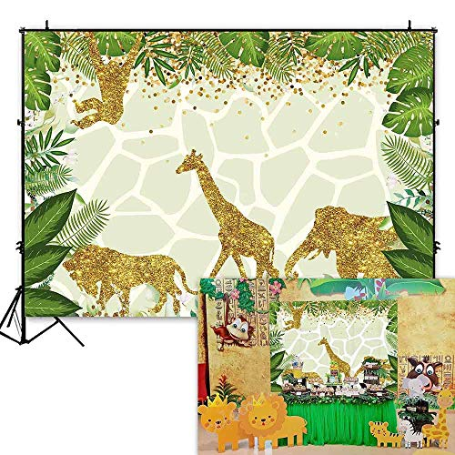 Funnytree 7x5ft Safari Jungle Theme Birthday Party Backdrop Golden Glitter Wild One Animals Photography Background Summer Tropical Leaves Baby Shower Cake Table Decoration Photobooth Studio Props]()