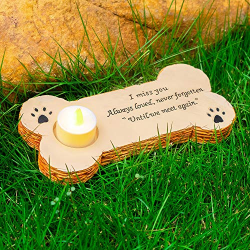 Gwnuqpa Pet Memorial Stone for Dog with 3 Pack Flameless Led Lights Candles for in Memory of Dog Rainbow Bridge Keepsake, Loss of Dog Gifts,Grave Marker for Outdoor Tombstone Or Indoor Display