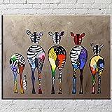 OMGO Dessin D'ornement Tableau Decoration Mural Peinture à l'huile Impression Sur Toile Art Moderne Sans Encadrement Zèbres Multicolore 70*50cm