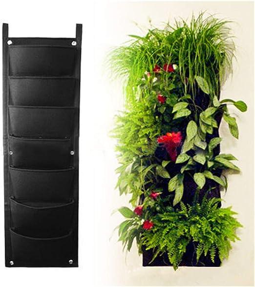Longzhuo maceta vertical de jardín, para colgar en interiores y exteriores, decoración de hierbas, verduras, flores, jardines, negro, 7 Pockets: Amazon.es: Jardín