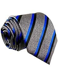 Shlax & Wing Men's Necktie Grey Strips Classic Silk Ties