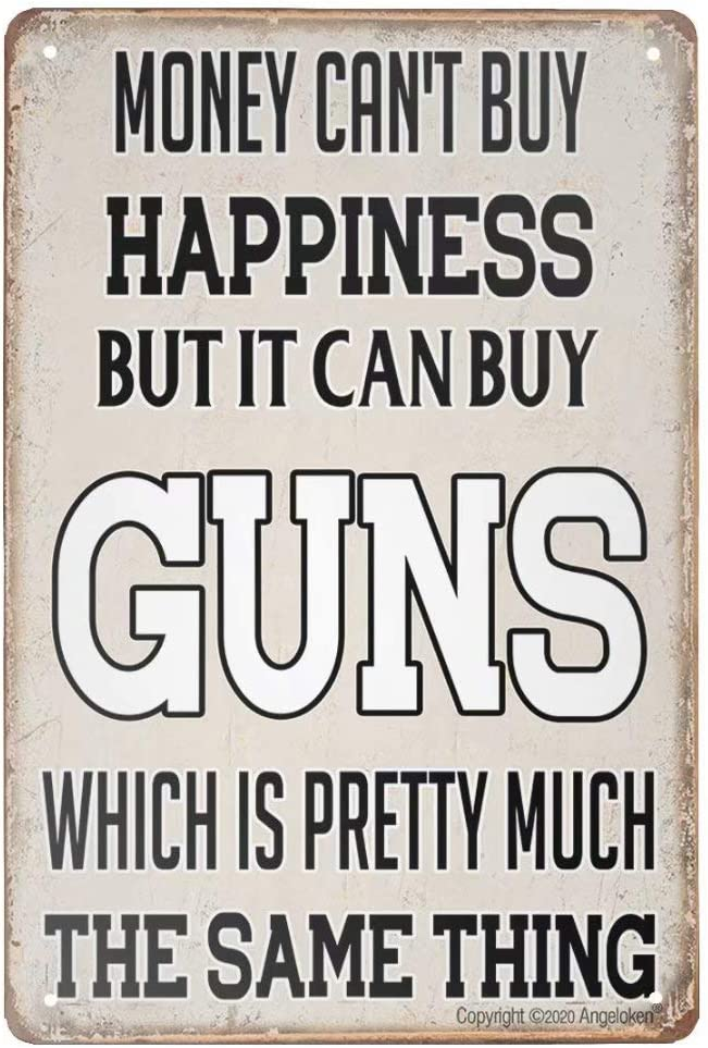 Angeloken Retro Metal Sign Vintage Guns Sign for Plaque Poster Cafe Wall Art Sign Gift 8 X 12 INCH