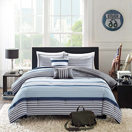 OSD 4pc Boys Navy Blue White Grey Stripes Comforter Twin/Twin XL Set, Horizontal Gray Striped Bedding Rugby Stripe Sports Themed Nautical Pattern Modern Lines Pattern Dorm College, Polyester
