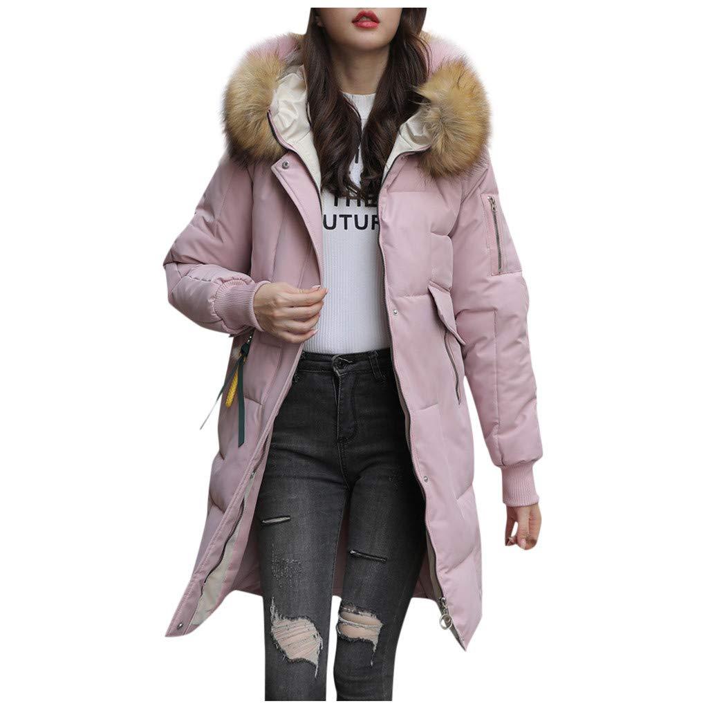 Dainzuy Women Winter Jacket with Fur Hood Thickened Long Down Warm Parka Outerwear Long Overcoat with Pocket Pink by Dainzuy Womens Outerwear