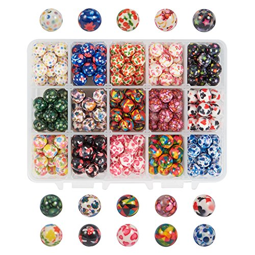 PH PandaHall 1 Box (about 270 pcs) 15 Color 10mm Round Acrylic Resin Beads with Pattern for Jewelry Making ()