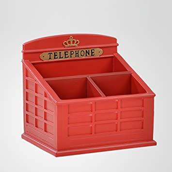 Bon Wangu0027s Telephone Booth Storage Box,creative Multifunction Remote Control  Storage Box Red