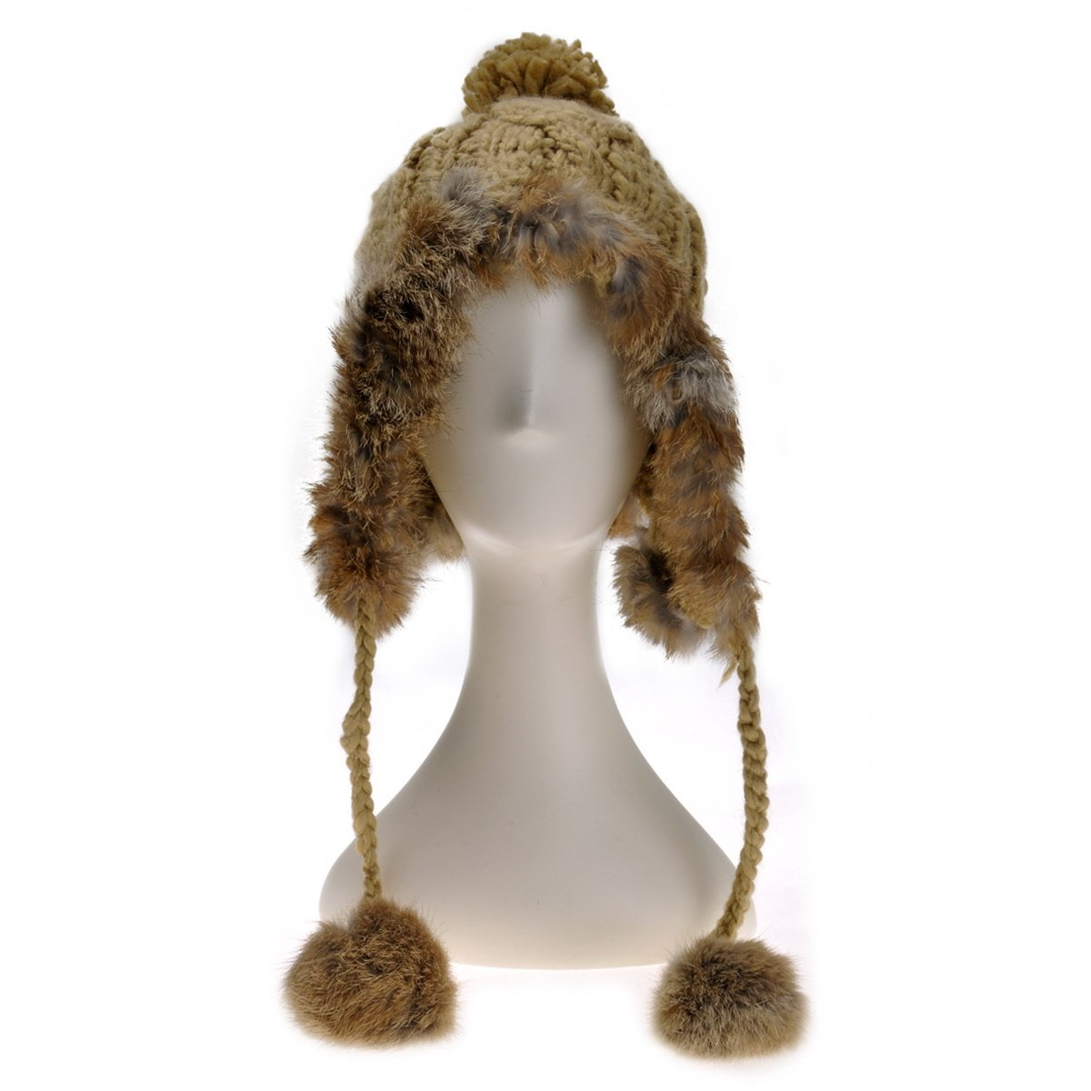 ZLYC Women Fashion Winter Warm Rabbit Fur Knit Bobble Beanie Cap Hat with Earflaps (Brown)