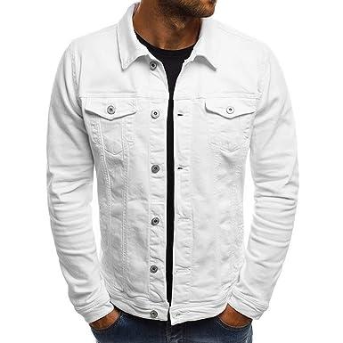 3419cf6bfa4c Rera Homme Veste Jeans Coupe Slim Court Loisir Couleur Unie Simple Manteau  Jacket Denim Décontracté Simple