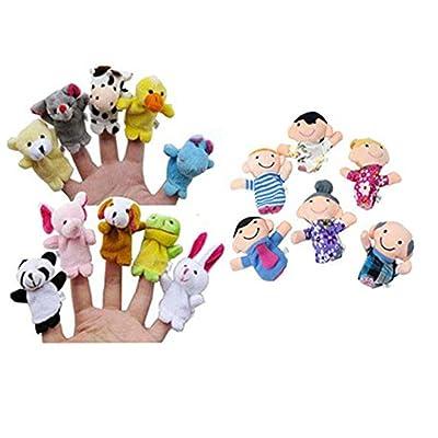 Jouets pour bébé,Transer®16pc histoire mignonne Finger Puppets 10 animaux 6 personnes membres de la famille jouet éducatif