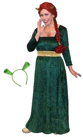 Las mujeres de la princesa Fiona Shrek Plus tamaño extragrande disfraz vestido y orejas: Amazon.es: Ropa y accesorios