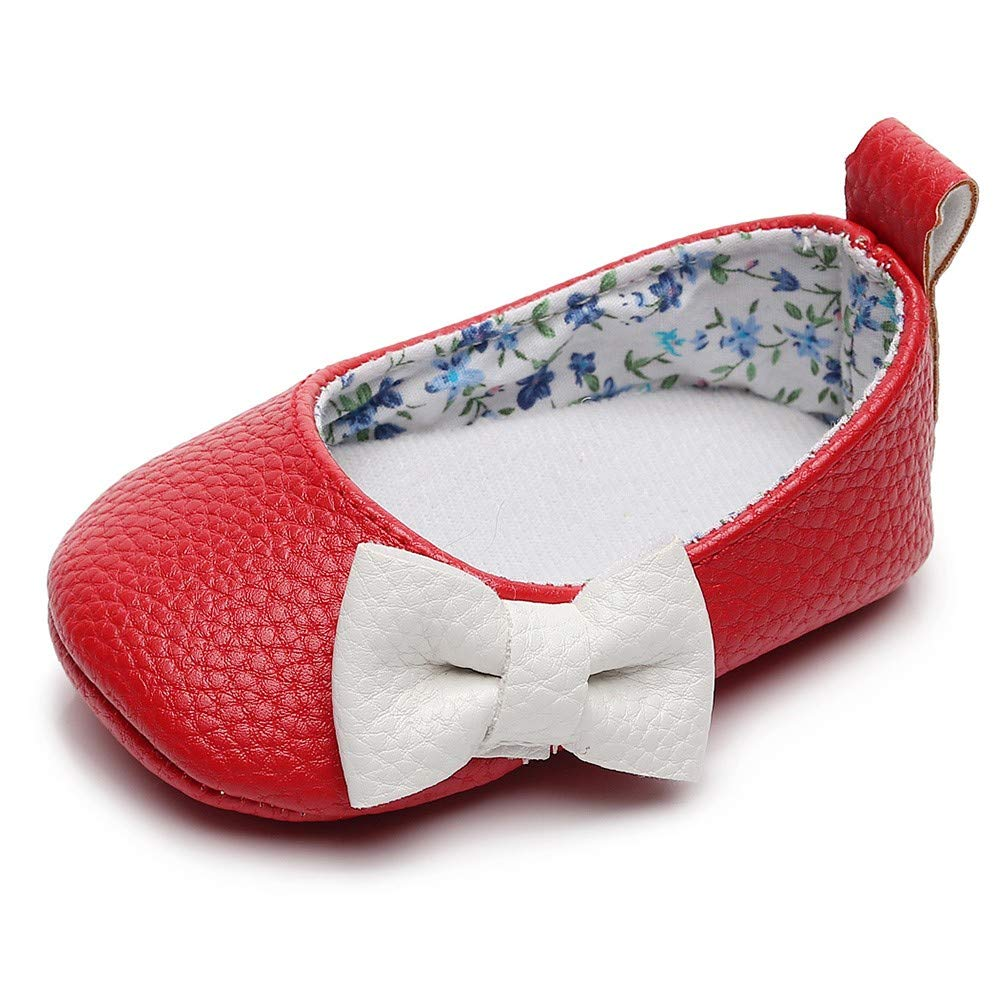 Lanhui Newborn Single Shoes Toddler Baby Girls Shallow Bowknot First Walkers Soft Sole