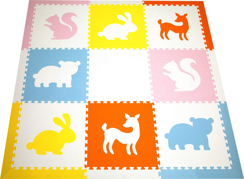 SoftTiles Woodland Animals Foam Playmat   Kids Floor Mats   Non-Toxic Baby Play Mat w/Sloped Edges for Playrooms and Nursery- Extra Thick 2 Foot Floor Tiles (6.5' x 6.5') (White, Light Gray) SCWOOWH