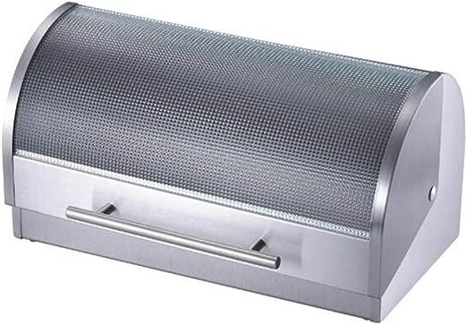 YYBF Caja de Pan, Panera con Tapa abatible, Matt Steel Fingerprint Proof, Caja de Metal para