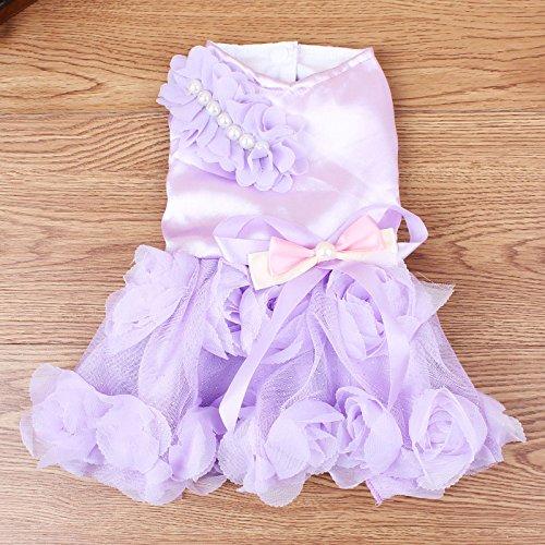 Purple XL Purple XL SymWell(TM) pink Pearl Princess Dog Wedding Dress Party Tutu Skirt Puppy Summer Clothing S-XL
