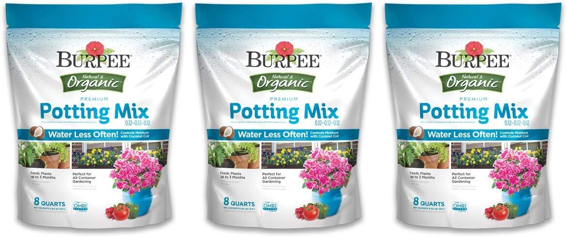 Burpee Organic Premium Potting Mix, 8 Quart, 3 Pack