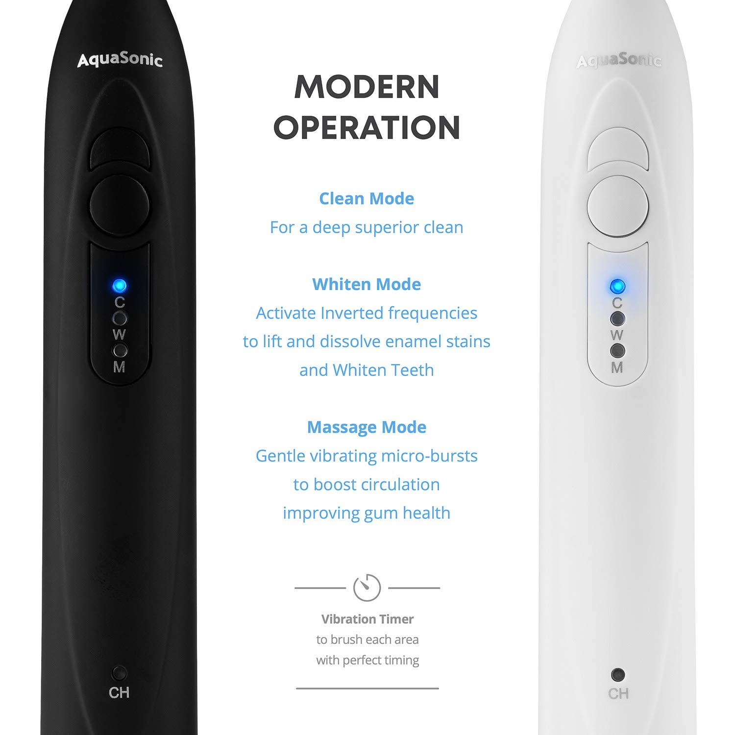 AquaSonic DUO - Dual Handle Ultra Whitening Rechargeable Electric ToothBrushes - 40,000 VPM Motor & Wireless Charging - 3 Modes with Smart Timers - 10 DuPont Brush Heads & 2 Travel Cases Included by Aquasonic (Image #3)