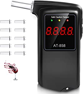 Breathalyzer, Professional-Grade Accuracy Breathalyzer to Tester with 10 Mouthpieces, Portable Breathalyzer Alcohol Tester for Personal & Professional with LCD Display for Drivers Or Home Use