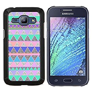 """S-type Native American Pattern Pink Teal"""" - Arte & diseño plástico duro Fundas Cover Cubre Hard Case Cover For Samsung Galaxy J1 J100"""