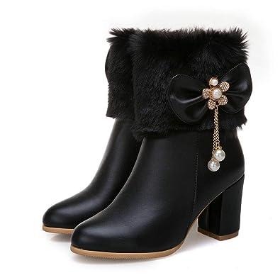 cb689eecc1e9 Women Ankle Boot Block High Heel Fashion Rhinestone Bows Leather Round Toe  Fur Lining Snow Booties
