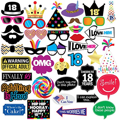 18th Birthday Photo Booth Party Props - 40 Pieces - Funny 18th Birthday Party Supplies, Decorations and Favors -