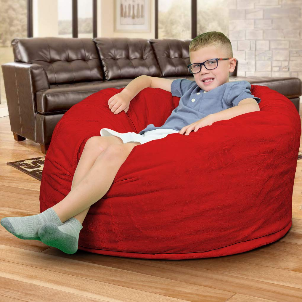 ULTIMATE SACK Bean Bag Chairs in Multiple Sizes and Colors Giant Foam-Filled Furniture – Machine Washable Covers, Double Stitched Seams, Durable Inner Liner. 3000, Red Suede