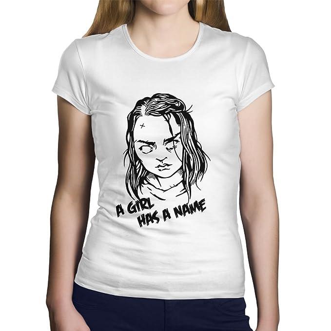 """OKAPY Camiseta Juego de Tronos. Una Camiseta de Mujer con Arya Stark y """"A"""