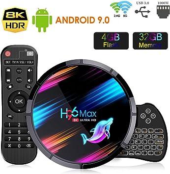 Android TV Box Smart TV Box, H96 MAX X3【4G+32G】 S905X3 Quad-Core 64bit Cortex-A53, Wi-Fi-Dual 5G/2.4G,BT 4.0, 8K*4K UHD H.265, USB 3.0 Android Box 9.0 con Mini Teclado Inalámbirco con Touchpad: Amazon.es: Electrónica