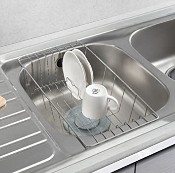 Beautiful STOPIA Sink Drainer Dish Drying Half Sink Tray Stainless Steel Sink Basket  Rack Kitchen Utensils Silver Idea