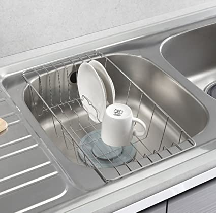 Amazon.com: STOPIA Sink Drainer Dish Drying Half Sink Tray Stainless ...