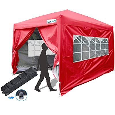 Quictent Silvox 10x10 Ez Pop-up Canopy Tent Instant Commercial Tent Gazebo with Sides Red: Sports & Outdoors